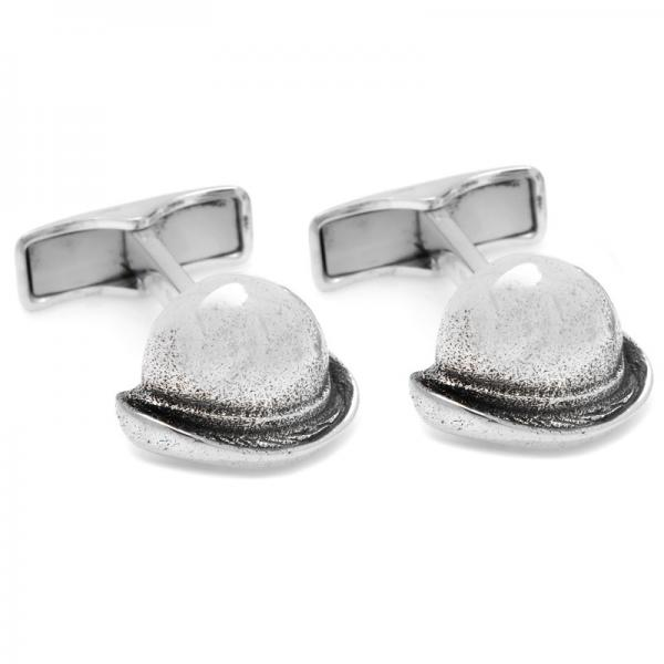 Chaplin Style Bowler Hat Cuff Links in Sterling Silver