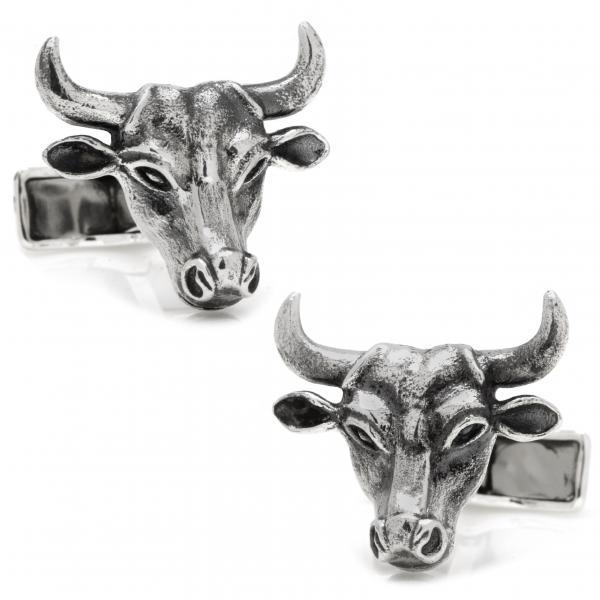 Men's Sterling Silver Bull Head Cuff Links