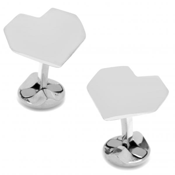Men's Sterling Silver Origami Heart Cuff Links