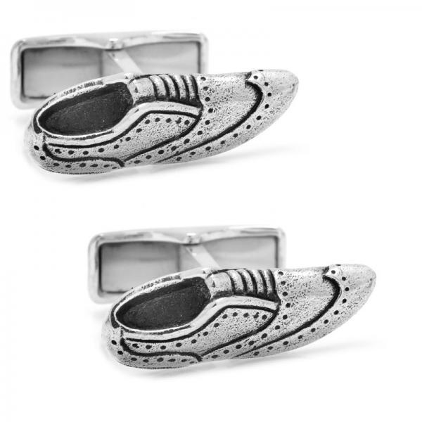 Brogue Style Shoe Cufflinks in Sterling Silver