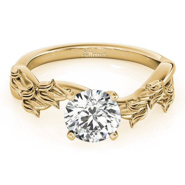 Solitaire Vine Leaf Engagement Ring Setting 14k Yellow Gold