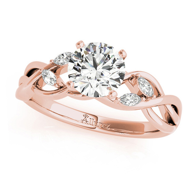 Twisted Round Diamonds & Moissanite Engagement Ring 14k Rose Gold (0.50ct)