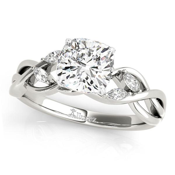 Cushion Diamonds Vine Leaf Engagement Ring 14k White Gold (1.00ct)