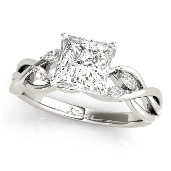 Princess Diamonds Vine Leaf Engagement Ring 14k White Gold (1.50ct)