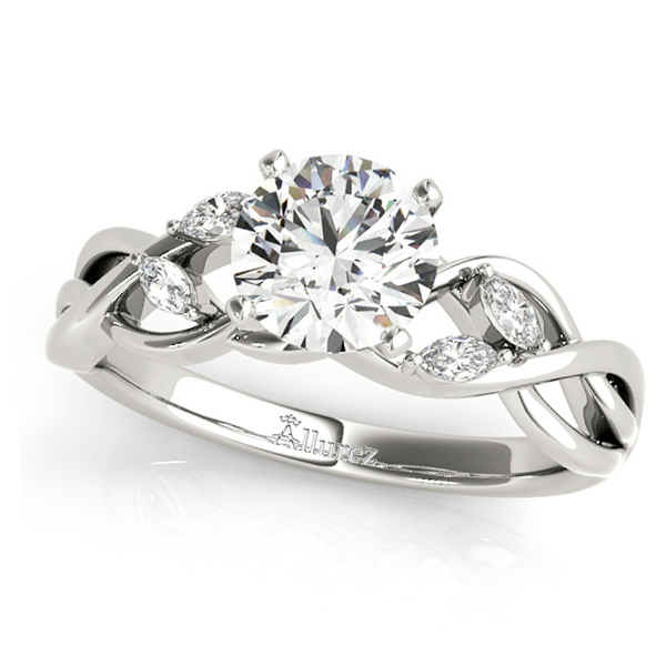 Twisted Round Diamonds & Moissanite Engagement Ring 14k White Gold (1.50ct)