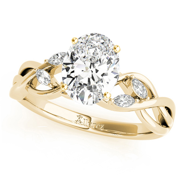 Twisted Oval Diamonds Vine Leaf Engagement Ring 14k Yellow Gold (1.50ct)