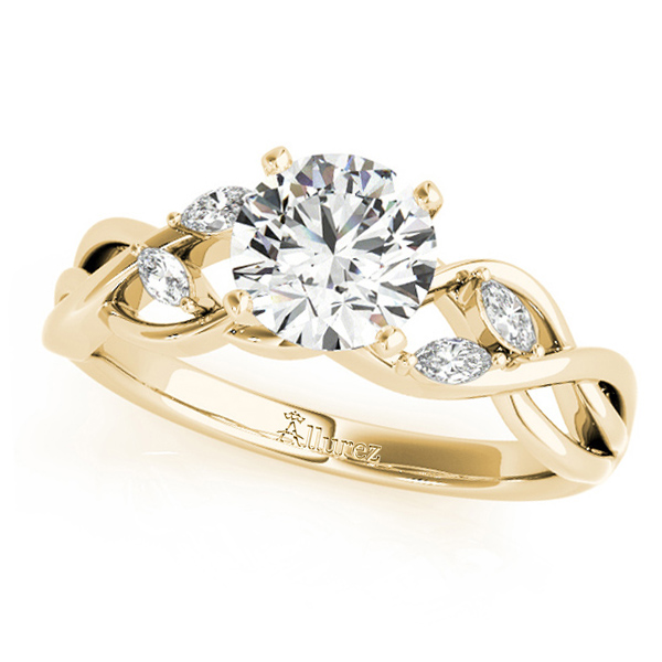 Twisted Round Diamonds Vine Leaf Engagement Ring 14k Yellow Gold (1.50ct)