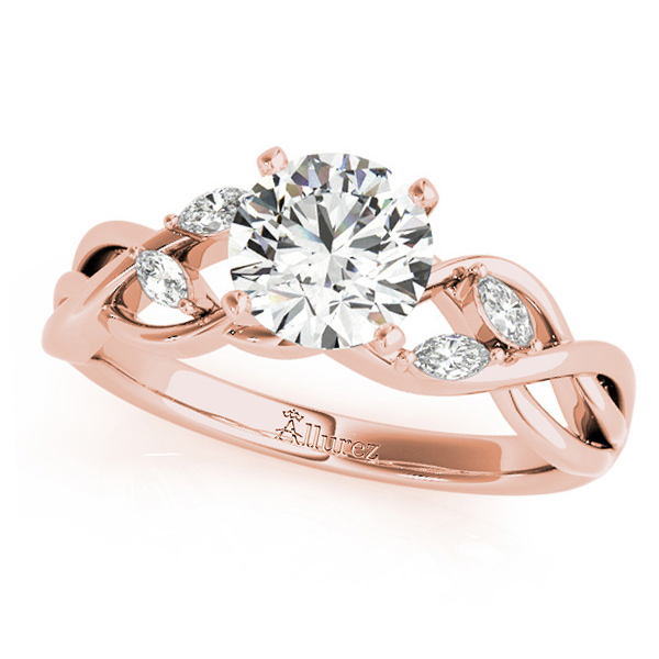 Twisted Round Diamonds Vine Leaf Engagement Ring 18k Rose Gold (0.50ct)