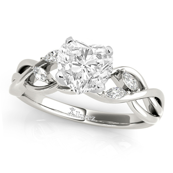 Twisted Heart Diamonds Vine Leaf Engagement Ring 18k White Gold (1.50ct)