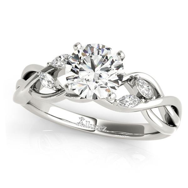 Twisted Round Diamonds & Moissanite Engagement Ring 18k White Gold (0.50ct)