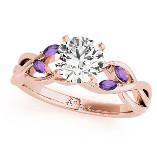 Twisted Round Amethysts & Moissanite Engagement Ring 14k Rose Gold (0.50ct)