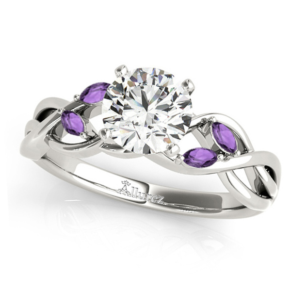 Twisted Round Amethysts & Moissanite Engagement Ring 14k White Gold (1.50ct)