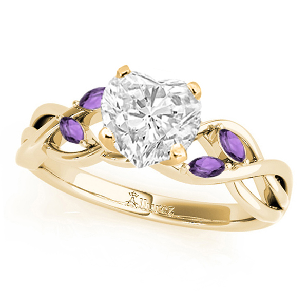 Twisted Heart Amethysts Vine Leaf Engagement Ring 14k Yellow Gold (1.00ct)