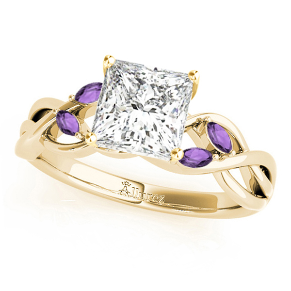 Twisted Princess Amethysts Vine Leaf Engagement Ring 14k Yellow Gold (0.50ct)