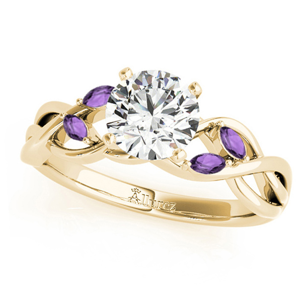 Twisted Round Amethysts & Moissanite Engagement Ring 14k Yellow Gold (1.00ct)