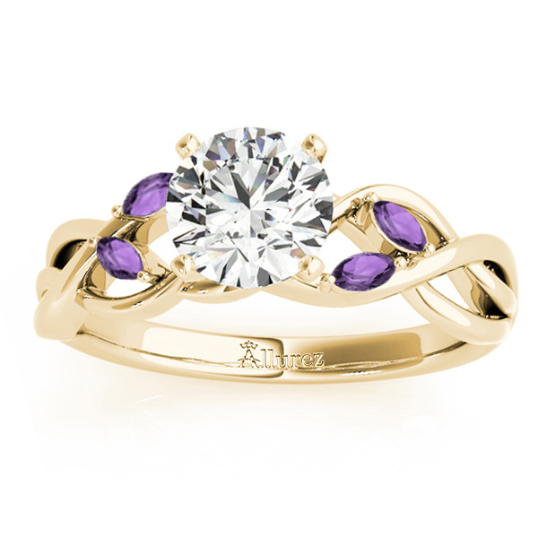 Amethyst Marquise Vine Leaf Engagement Ring 14k Yellow Gold (0.20ct)