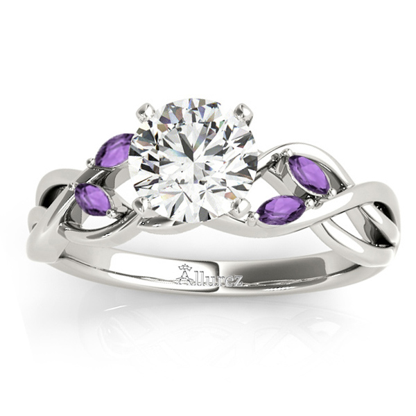 Amethyst Marquise Vine Leaf Engagement Ring Platinum (0.20ct)