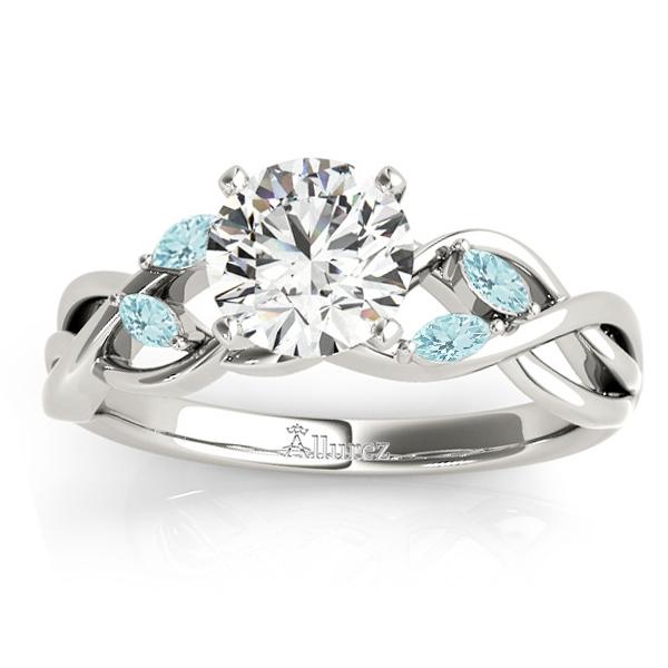 Aquamarine Marquise Vine Leaf Engagement Ring 14k White Gold (0.20ct)