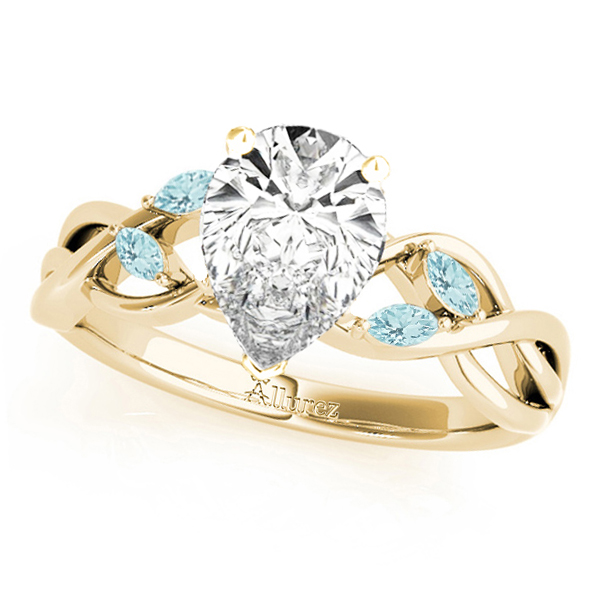 Twisted Pear Aquamarines Vine Leaf Engagement Ring 14k Yellow Gold (1.50ct)