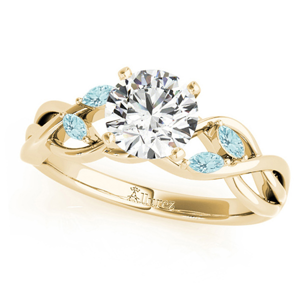 Twisted Round Aquamarines & Moissanite Engagement Ring 14k Yellow Gold (1.50ct)