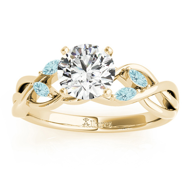 Aquamarine Marquise Vine Leaf Engagement Ring 14k Yellow Gold (0.20ct)