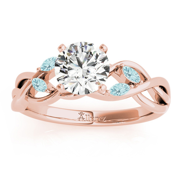 Aquamarine Marquise Vine Leaf Engagement Ring 18k Rose Gold (0.20ct)