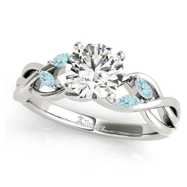 Twisted Round Aquamarines & Moissanite Engagement Ring 18k White Gold (1.50ct)
