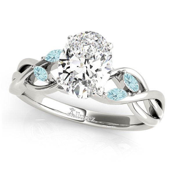 twisted oval aquamarines engagement ring palladium 1 50ct allurez Leaf Crown