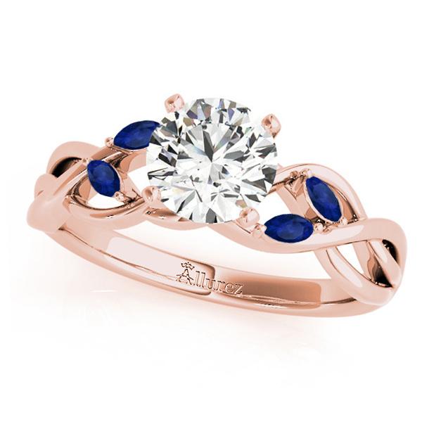 Round Blue Sapphires Vine Leaf Engagement Ring 14k Rose Gold (0.50ct)