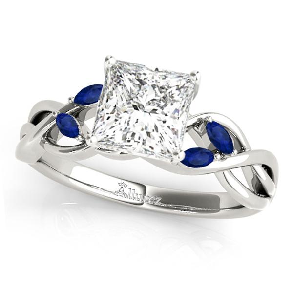 Princess Blue Sapphires Vine Leaf Engagement Ring 14k White Gold (1.00ct)