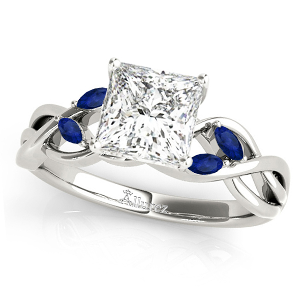 Princess Blue Sapphires Vine Leaf Engagement Ring 14k White Gold (1.50ct)
