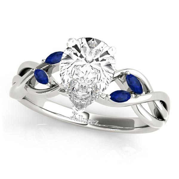 Pear Blue Sapphires Vine Leaf Engagement Ring 14k White Gold (1.00ct)