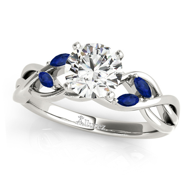 Twisted Round Blue Sapphires & Moissanite Engagement Ring 14k White Gold (0.50ct)