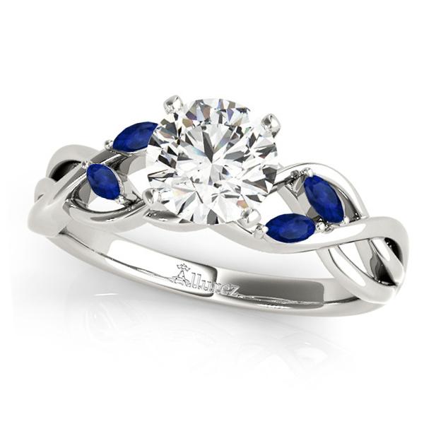 Round Blue Sapphires Vine Leaf Engagement Ring 14k White Gold (1.00ct)