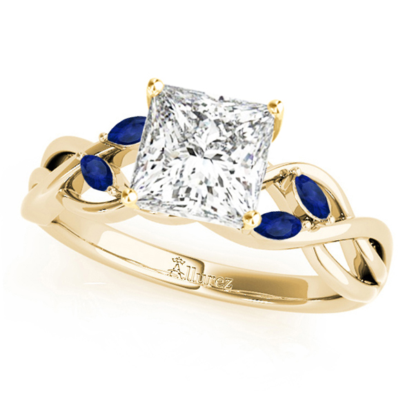Princess Blue Sapphires Vine Leaf Engagement Ring 14k Yellow Gold (1.00ct)