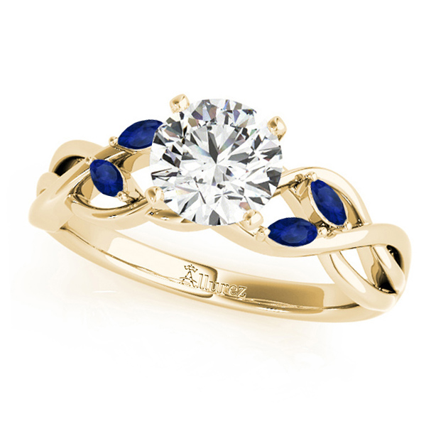 Twisted Round Blue Sapphires & Moissanite Engagement Ring 14k Yellow Gold (0.50ct)