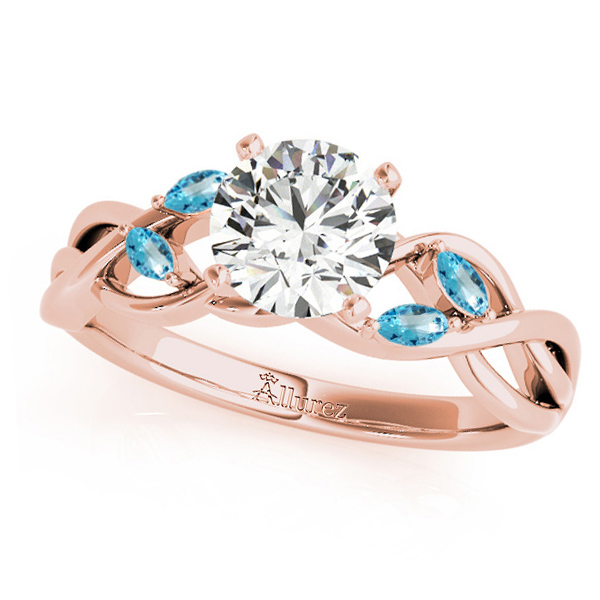Twisted Round Blue Topazes & Moissanite Engagement Ring 14k Rose Gold (0.50ct)