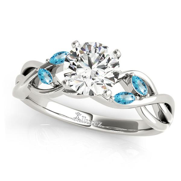 Twisted Round Blue Topazes & Moissanite Engagement Ring 14k White Gold (0.50ct)