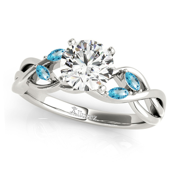Twisted Round Blue Topazes & Moissanite Engagement Ring 18k White Gold (0.50ct)