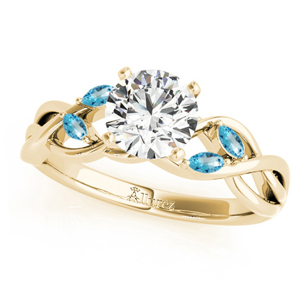 Twisted Round Blue Topazes & Moissanite Engagement Ring 18k Yellow Gold (0.50ct)