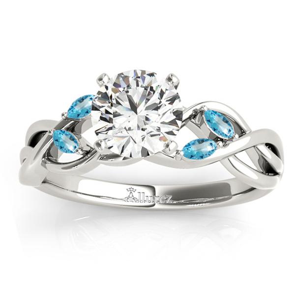 Blue Topaz Marquise Vine Leaf Engagement Ring Palladium (0.20ct)