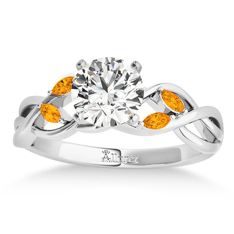Citrine Marquise Vine Leaf Engagement Ring 14k White Gold (0.20ct)