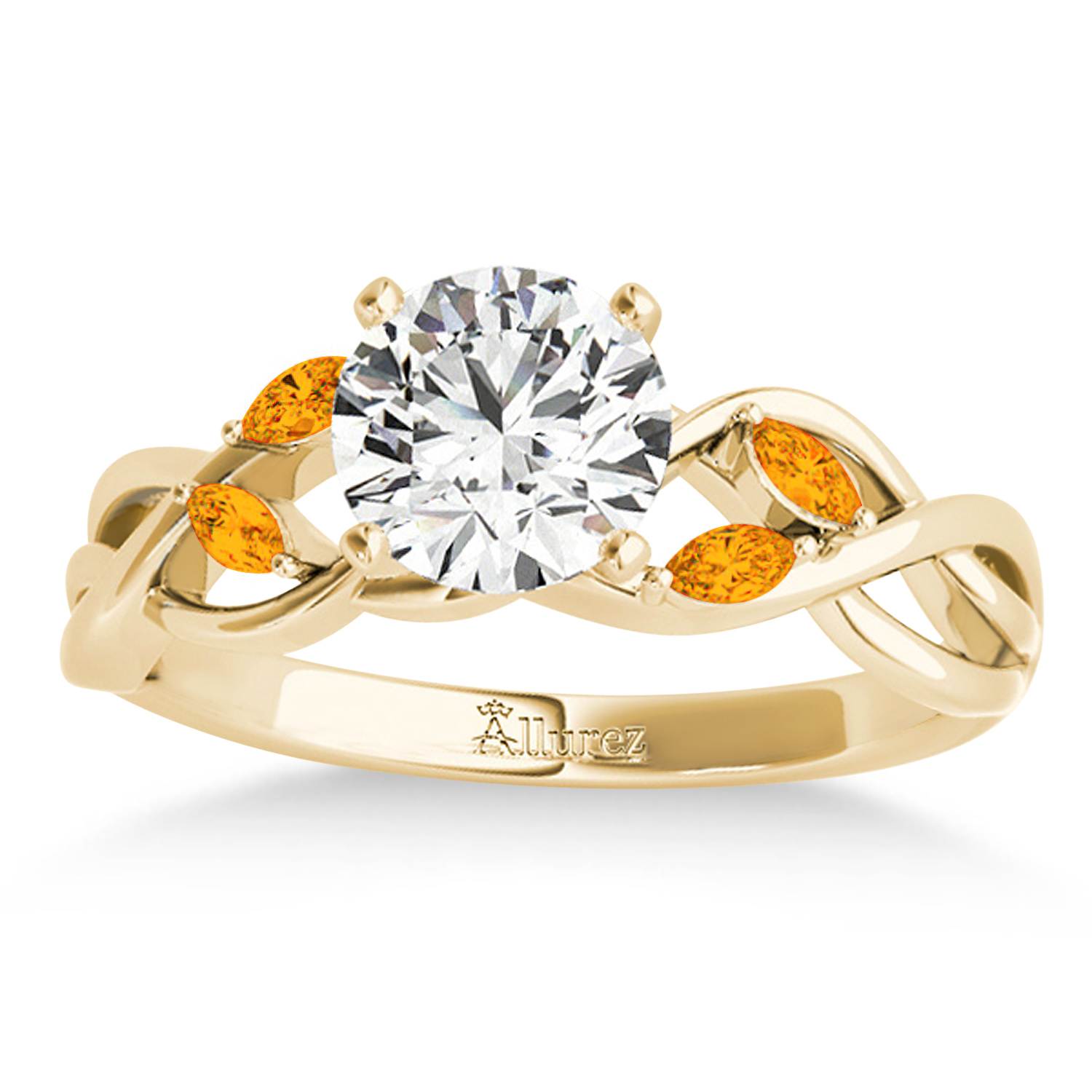 Citrine Marquise Vine Leaf Engagement Ring 14k Yellow Gold (0.20ct)