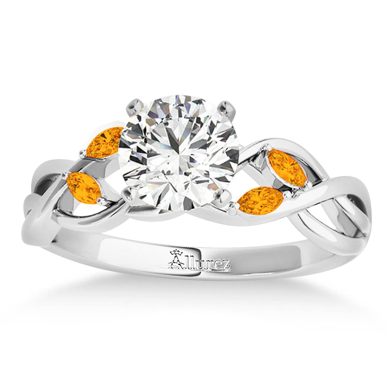Citrine Marquise Vine Leaf Engagement Ring Palladium (0.20ct)