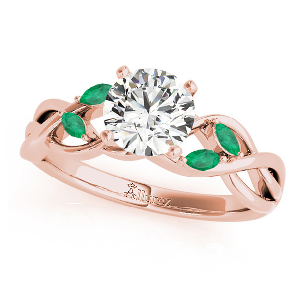 Twisted Round Emeralds & Moissanite Engagement Ring 14k Rose Gold (0.50ct)