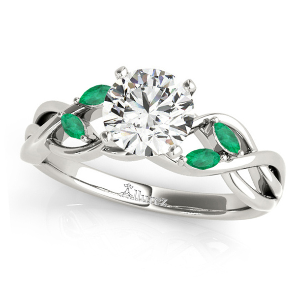 Twisted Round Emeralds & Moissanite Engagement Ring 14k White Gold (0.50ct)