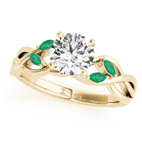 Twisted Round Emeralds & Moissanite Engagement Ring 14k Yellow Gold (0.50ct)