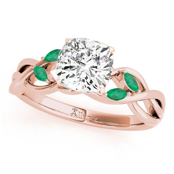 Twisted Cushion Emeralds Vine Leaf Engagement Ring 18k Rose Gold (1.50ct)