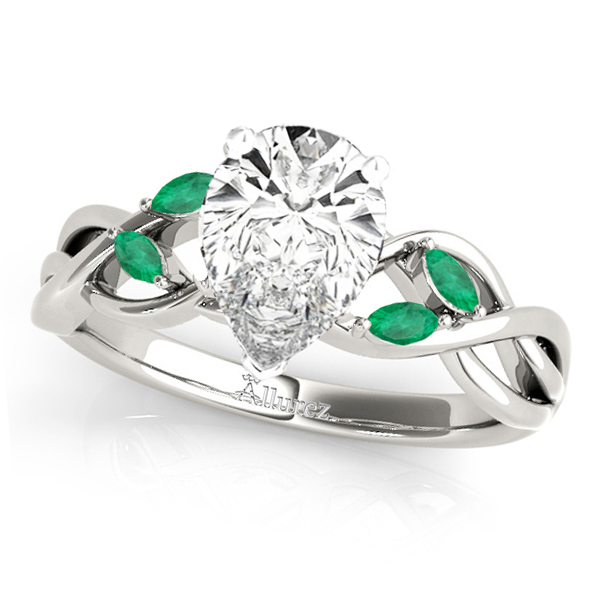 Twisted Pear Emeralds Vine Leaf Engagement Ring 18k White Gold (1.50ct)