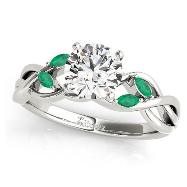 Twisted Round Emeralds Vine Leaf Engagement Ring 18k White Gold (1.50ct)